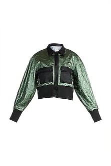 Green Metallic Bomber Jacket by PARNIKA