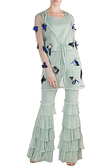 Sea Blue Embroidered Jacket With Crop Top & Pants by PARNIKA