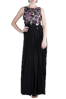 Black Embroidered Maxi Dress by PARNIKA