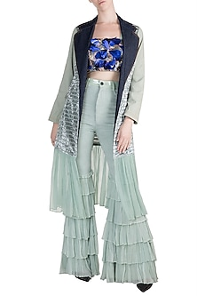 Sea Blue Jacket With Embroidered Crop Top With Pants by PARNIKA