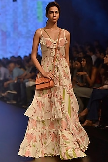 Cream Floral Printed Maxi Ruffle Dress with A Bustier