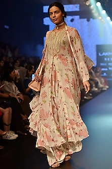 Cream Floral Printed Ruffle Cape Kurta Set