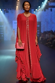 Red Ruffle Cape Kurta Set