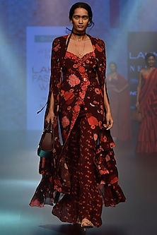 Red and Black Floral Embroidered Wrapped Maxi Dress with A Pant and Cape