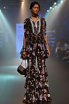 Black Floral Embroidered Wrapped Cape Top and Tiered Pant