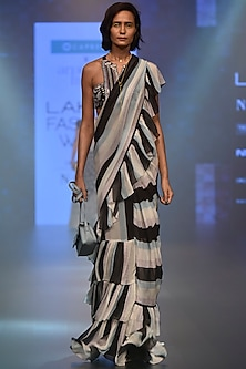 Black and White Striped Ruffle Saree Set