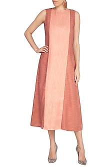 Coral Almond Embroidered A-line Dress by AQDUS