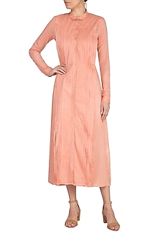 Coral Almond Pleated Midi Dress by AQDUS