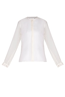 White Chinese Collared Shirt by AQDUS
