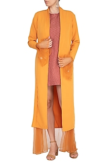 Orange Embroidered Knitted Jacket by AQDUS