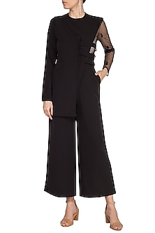 Black Embroidered Half Jacket Jumpsuit by AQDUS
