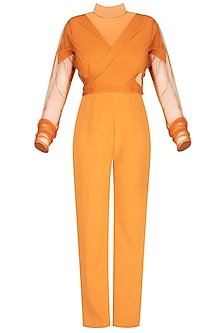 Orange Knitted Jumpsuit by AQDUS