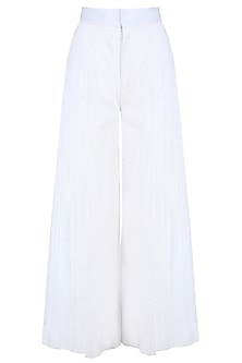 White Layered Pleated Culottes