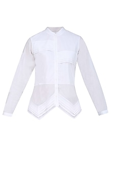White Layered Pleated Button Down Shirt
