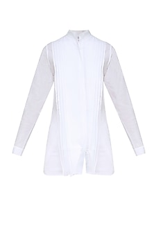 White Layered Pleated Pintucks Shirt