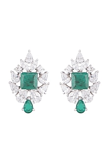 White Finish 925 Sterling Silver Swarovski Zircon & Green Stone Earrings by Adiara Queen Jewellery