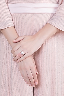 White Finish 925 Sterling Silver Swarovski Zircon Solitaire Diamond Ring by Adiara Queen Jewellery