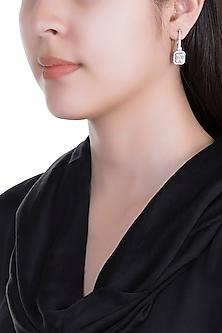 White Finish 925 Sterling Silver Swarovski Zircon Dangle Earrings by Adiara Queen Jewellery