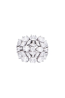 White Finish 925 Sterling Silver Swarovski Zircon Fancy Cocktail Ring by Adiara Queen Jewellery