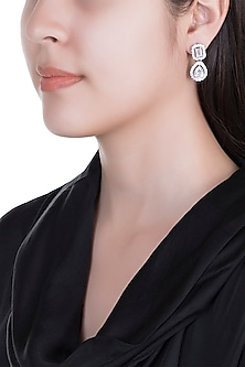 White Finish 925 Sterling Silver Swarovski Solitaire & Rim Earrings by Adiara Queen Jewellery