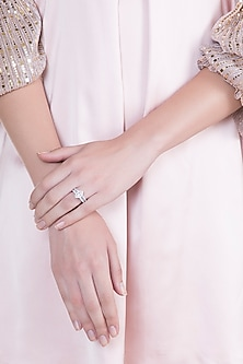 White Finish 925 Sterling Silver Swarovski Zircon Solitaires Ring by Adiara Queen Jewellery