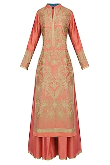 Coral Floral Embroidered Kurta Set With Palazzo Pants