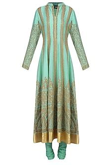 Aqua Blue Dori Embroidered Anarkali Set by Aiman