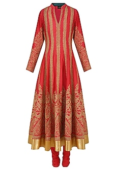 Red Dori Embroidered Sequinned Anarkali Set