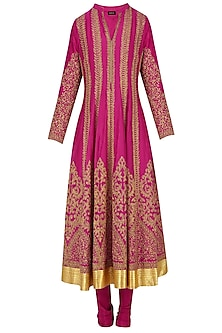 Fuschia Pink Dori Embroidered Sequinned Anarkali Set