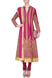 Fuschia Pink Dori Embroidered Sequinned Anarkali Set by Aiman