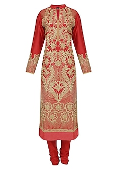 Red and Gold Dori Embroidered Sequinned Kurta Set
