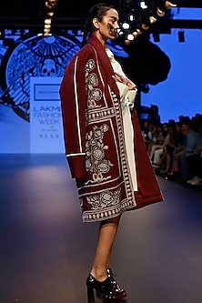 Maroon Embroidered Boxy Overcoat and String Dress