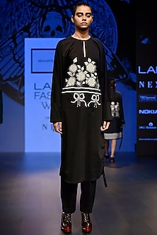 Black Embroidered Kaftan Style Dress