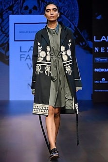 Green Embroidered Trench Jacket with String Dress by ARMAAN RANDHAWA
