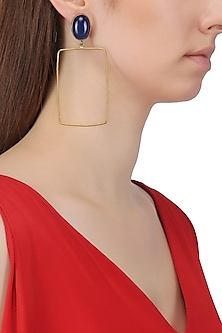 Gold Plated Navy Blue Stone Earrings by Aaree Accessories
