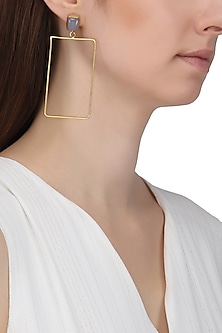 Gold Plated Chalcedony Stone Earrings by Aaree Accessories