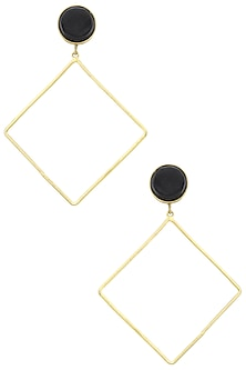 Gold Plated Onyx Earrings by Aaree Accessories