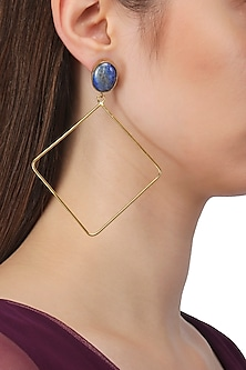 Gold Plated Lapiz Lazuli Earrings by Aaree Accessories