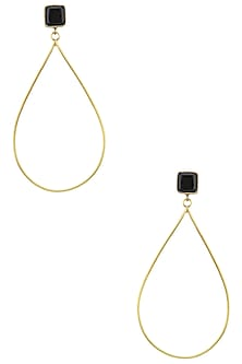 Gold Plated Onyx Drop Earrings by Aaree Accessories