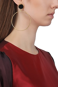 Gold Plated Onyx Round Earrings by Aaree Accessories