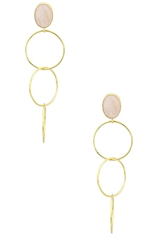 Gold Plated Rose Quartz Earrings by Aaree Accessories