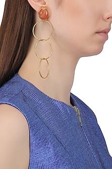 Gold Plated Garnet Earrings
