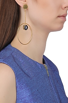 Gold Plated Chain and Semi Precious Stone Earrings