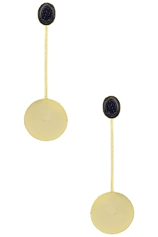 Gold Plated Semi Precious Stone Round Drop Earrings by Aaree Accessories