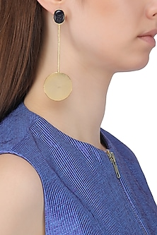 Gold Plated Semi Precious Stone Round Drop Earrings