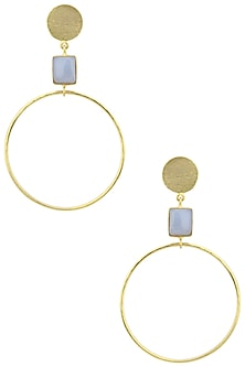 Gold Plated Chalcedony Round Drop Earrings by Aaree Accessories