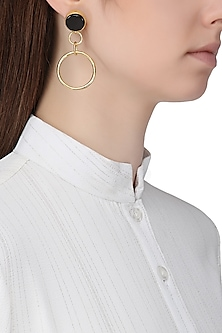 Gold Plated Onyx Round Drop Earrings by Aaree Accessories
