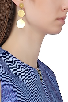 Gold Plated Textured Round Earrings by Aaree Accessories