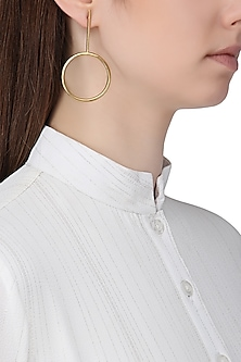 Gold Plated Circular Drop Earrings by Aaree Accessories