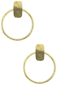 Gold Plated Circular Earrings by Aaree Accessories